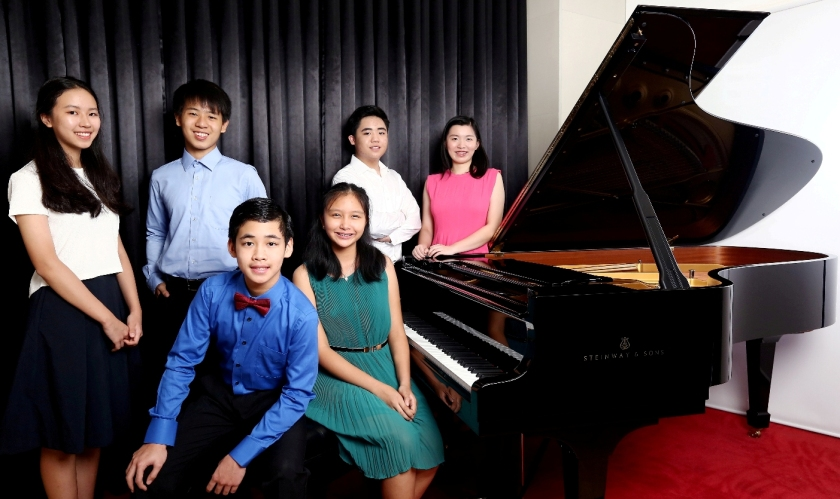 Finalists of the 3rd Philippine Steinway Youth Piano Competition: (L-R standing) Irene Lee (Category 2 – ages 12 to 14); Jet Chong, Carlos Cornelio and Moriah Ongchoco (Category 3 – ages 15 to 17);  (L-R seated) Hansel Ang and Andrea Versoza of Category 2 (ages 12 to 14)