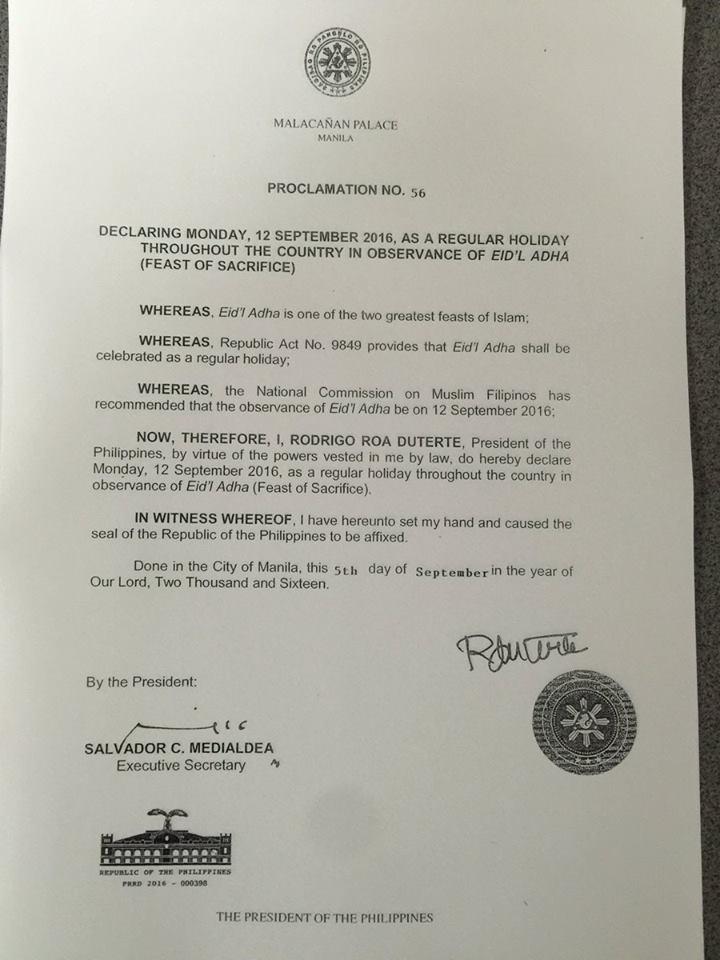 eidl adha proclamation no 56