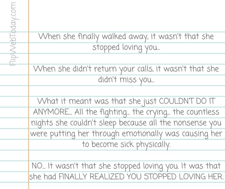 stopped loving her