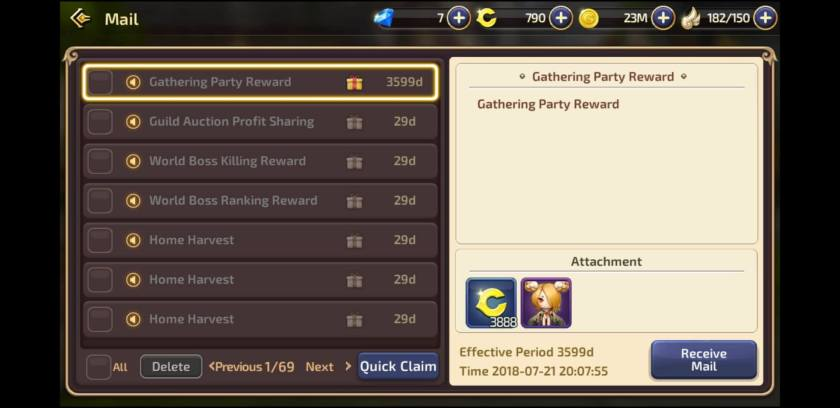 Gathering Party Reward